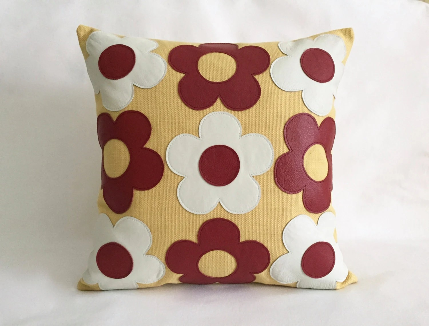 Retro Cushions Yellow Retro Pillows Red And White Leather Pillow Designed By Renaissance Cushions