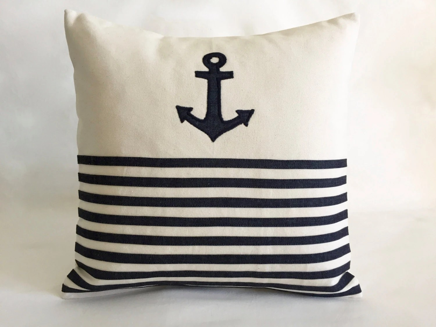 Nautical Sofa Throws Nautical Throw Pillows Anchor Cover Cushion Navy Blue Stripes Denim And Natural Cotton Canvas 18 X 18 Indoor Pillows For Chair And Sofa