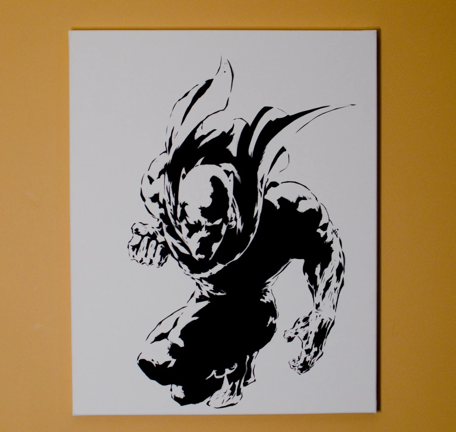 Black Panther Art Spray Paint from Handmade Stencil Black Etsy