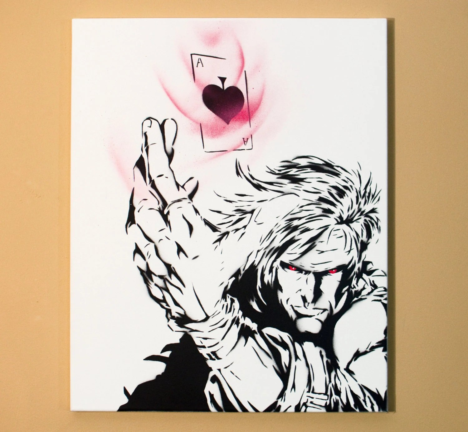 Gambit Art Spray Paint from Handmade Stencil Black and Etsy
