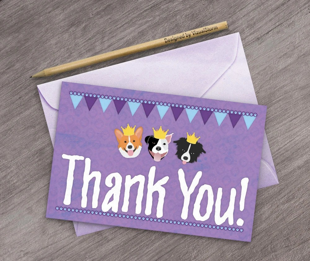 Dogs Wearing Crowns Thank You Card Paw Print Border Banners Etsy