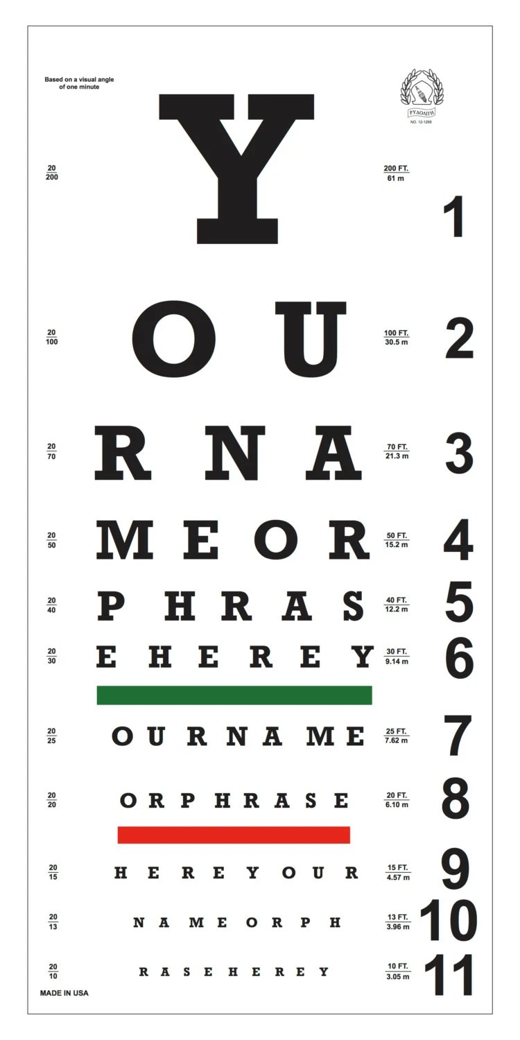 Custom Eye Chart Now you can have your name or a phrase on Etsy