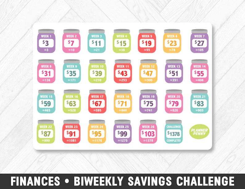 Finances Biweekly Savings Challenge Rainbow Planner Stickers Etsy