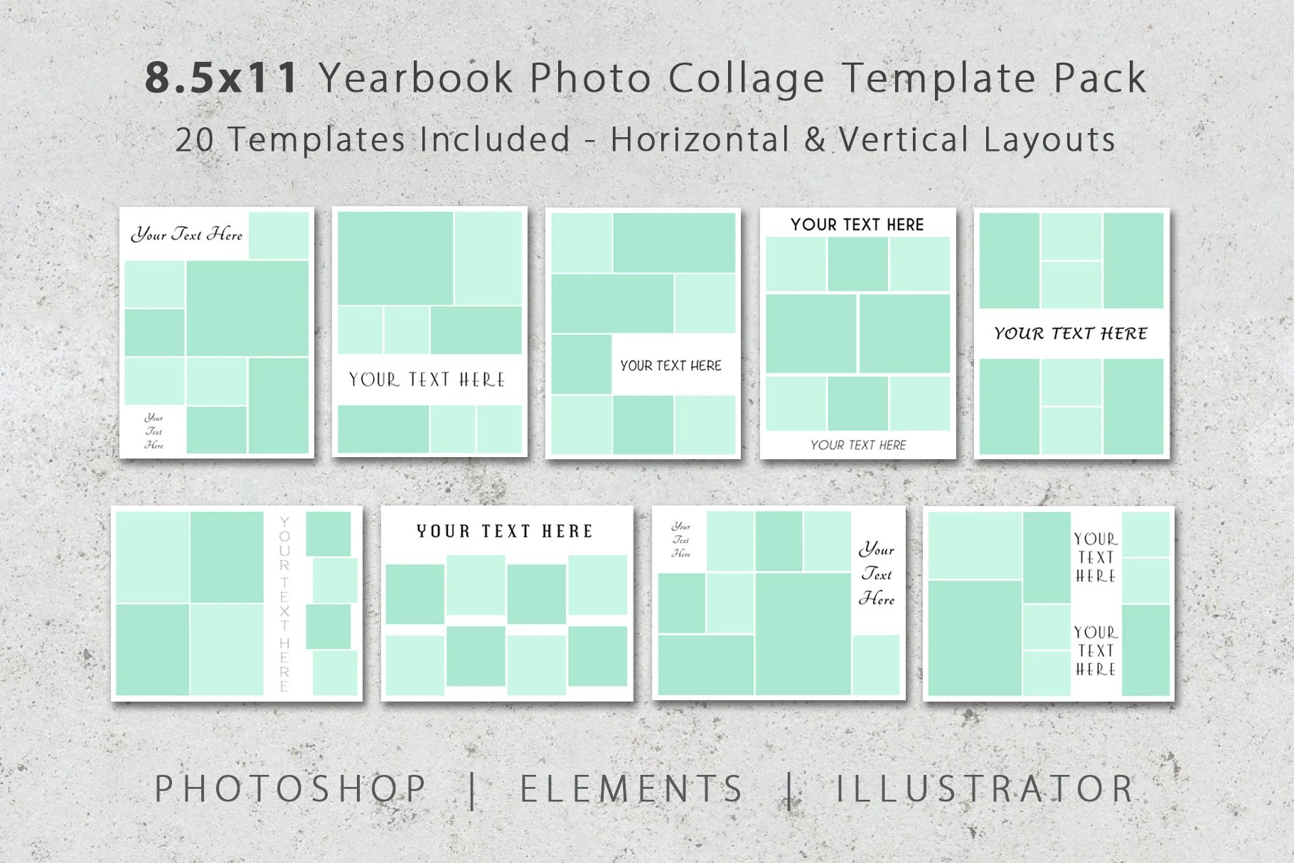 85x11 Photo Album Template Pack 20 Templates Photo Collage Etsy