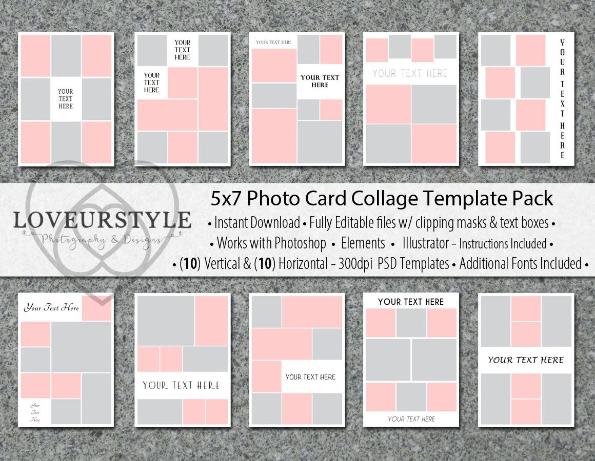 5x7 Photo Card Collage Template Pack 20 Templates Included Etsy