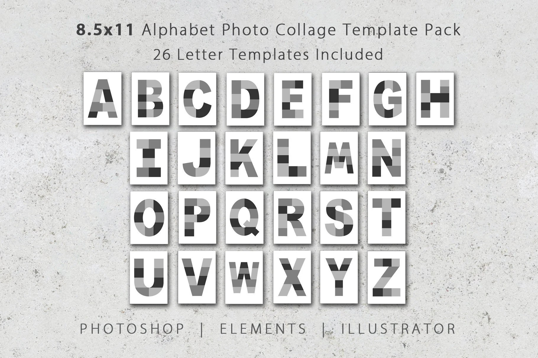 85x11 Photo Template pack Alphabet Template Pack Letter Etsy