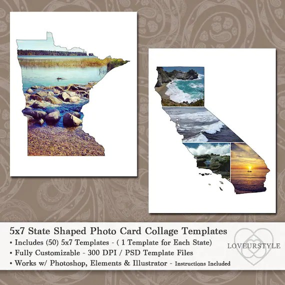 5x7 State Shaped Photo Card Collage Template Pack Includes Etsy - postcard collage template