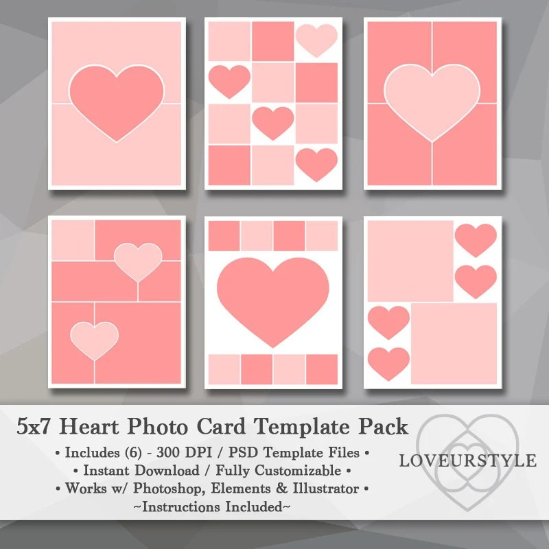 5x7 Photo Template Pack Heart Templates Photo Collage Card Etsy