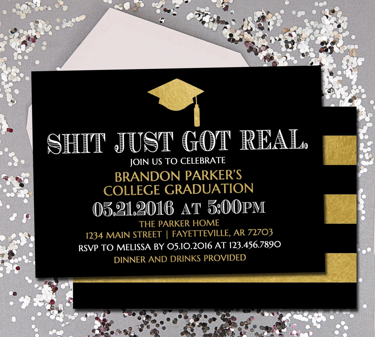 Graduation Graduation Invitation Shit Just Got Real Black Etsy