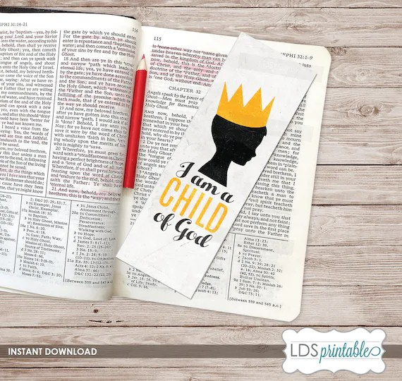 I am a Child of God printable Bookmark 2018 LDS Primary Theme Etsy