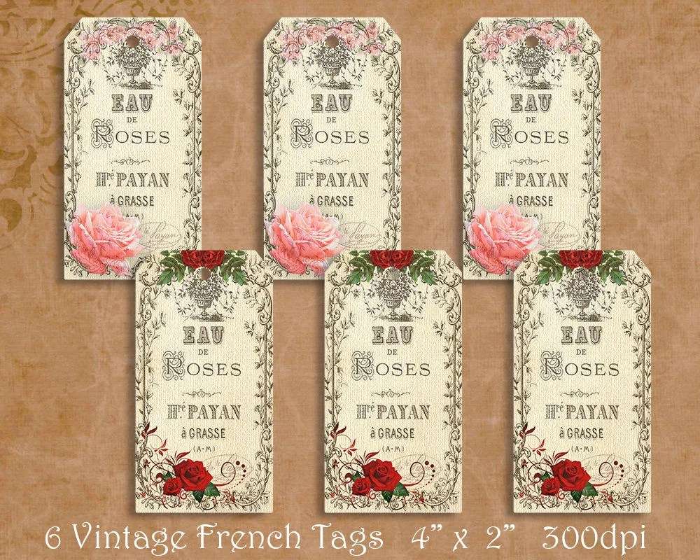 Vintage French Rose Gift Tags French Ephemera 6 Printable Etsy