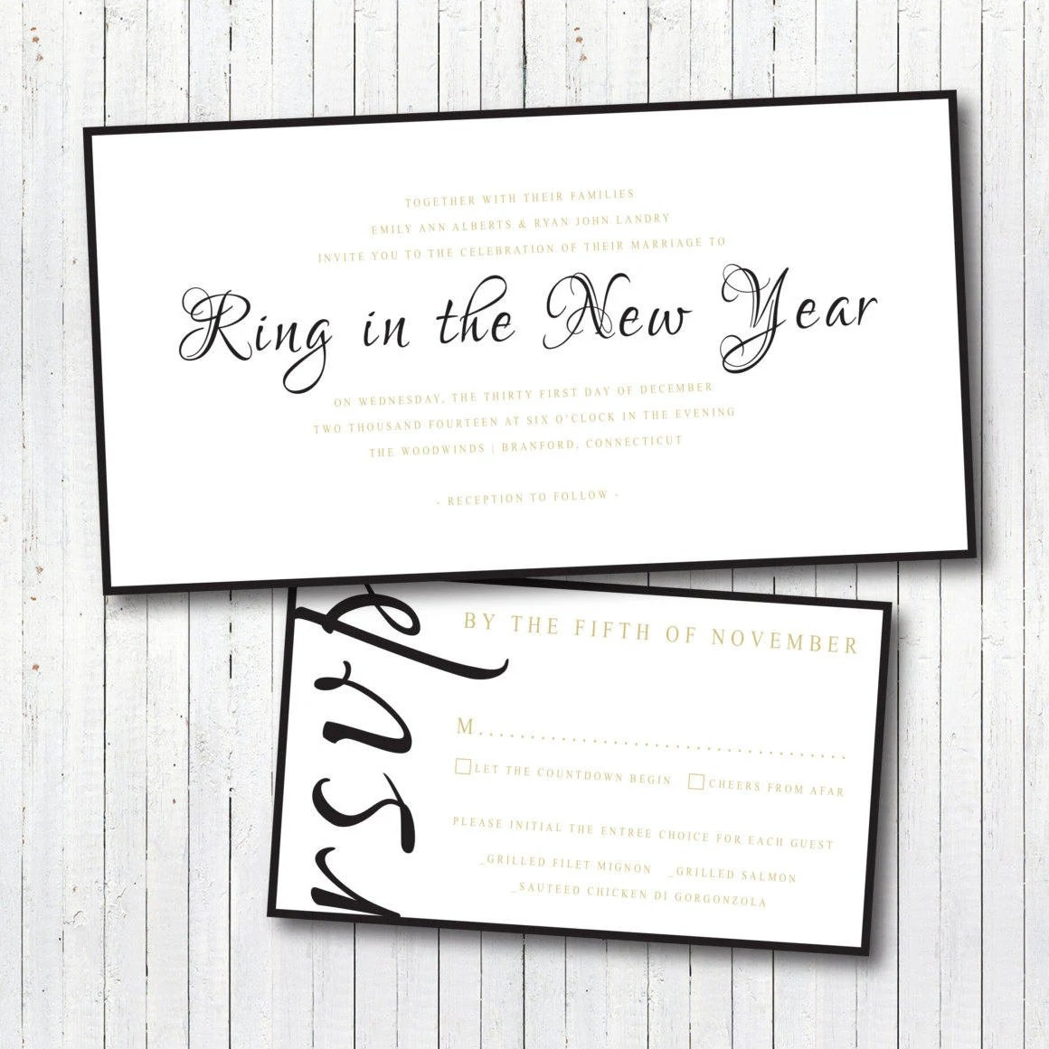 New Years Eve Wedding Invitation  RSVP response card Etsy