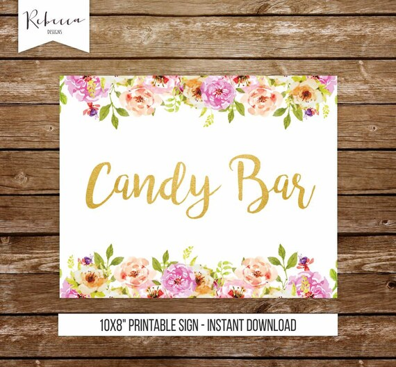 Candy bar sign printable candy buffet sign floral sign gold wedding