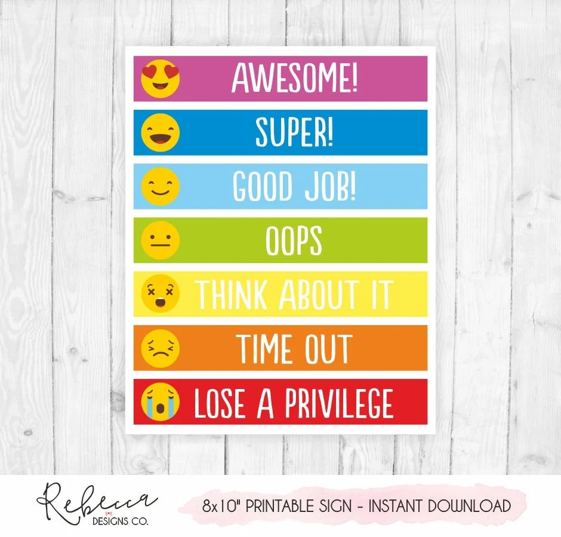 Behavior chart printable behavior chart kids behaviour chart Etsy