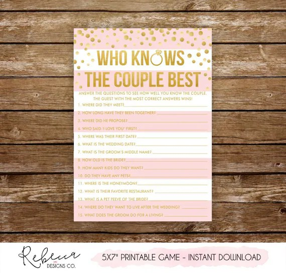 Who knows the couple best printable bridal shower game printable