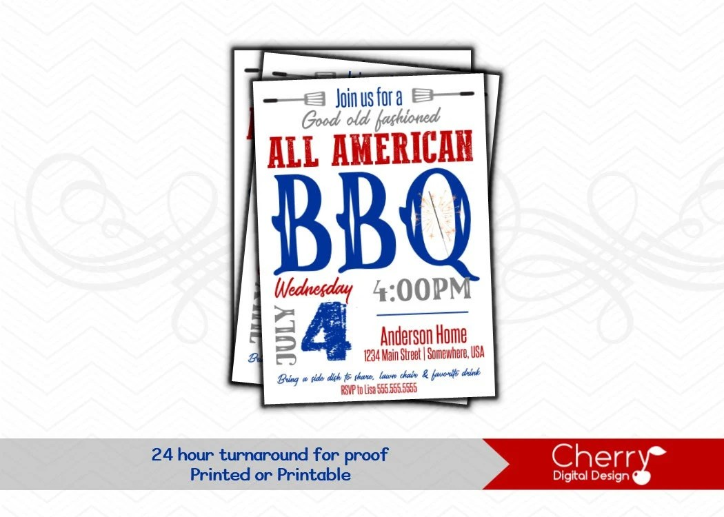 All American 4th of July BBQ Invitations Printed or Etsy
