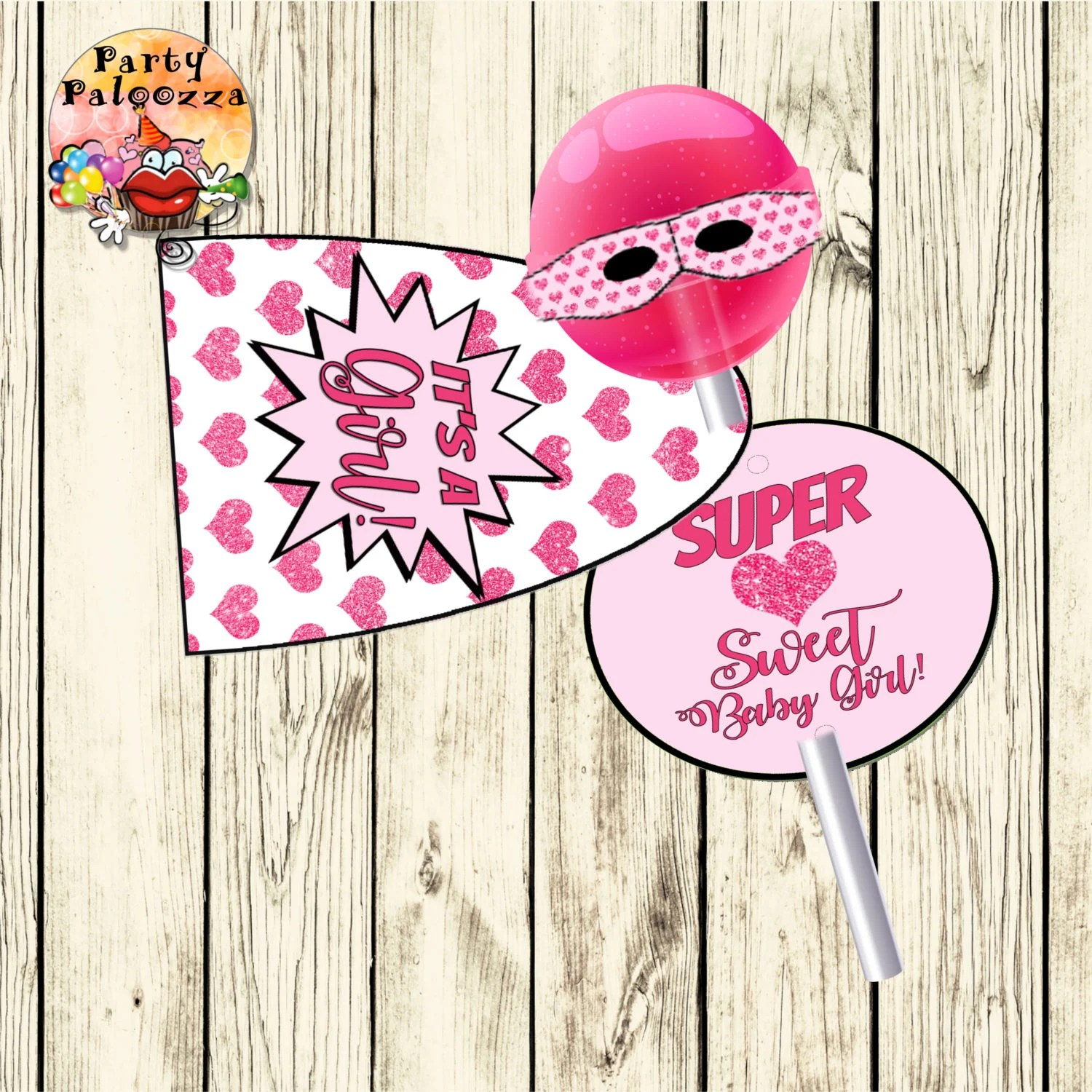 Printable It\u0027s a girl superhero lollipop cover Etsy