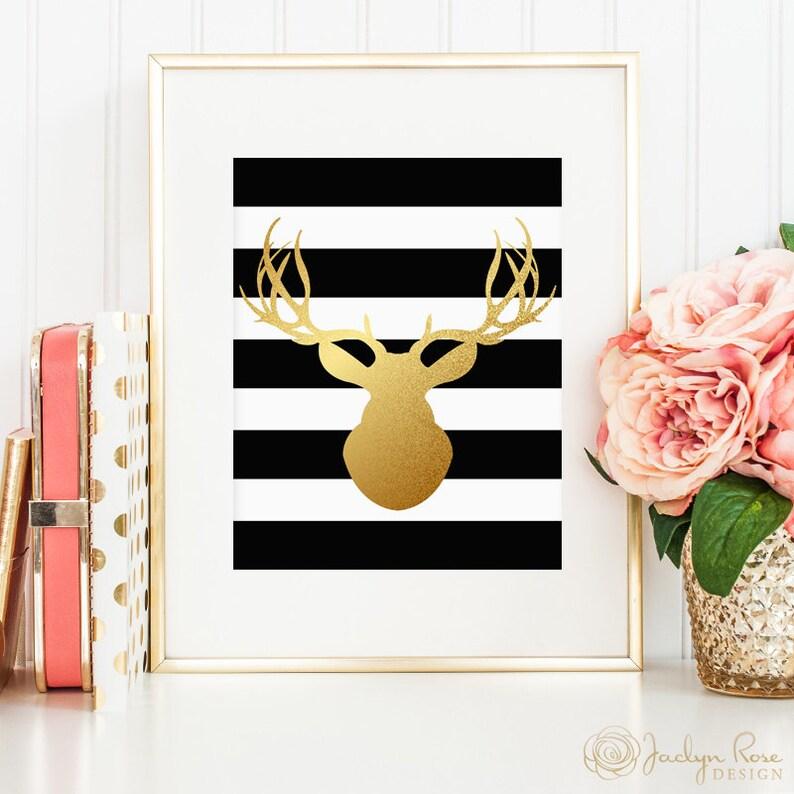Deer head silhouette printable wall art decor faux gold foil Etsy