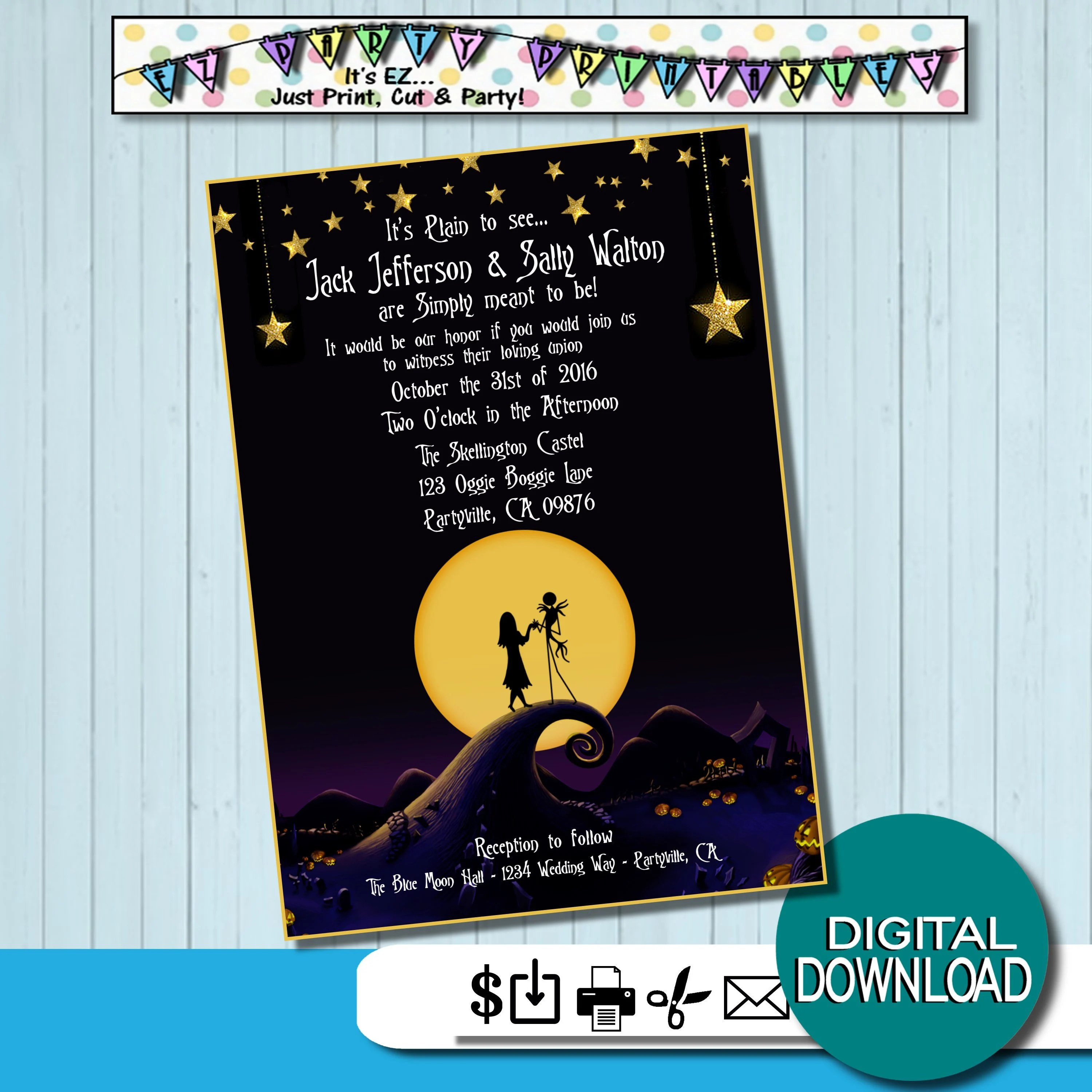 Nightmare before Christmas Wedding Invites Simply Meant to be Etsy