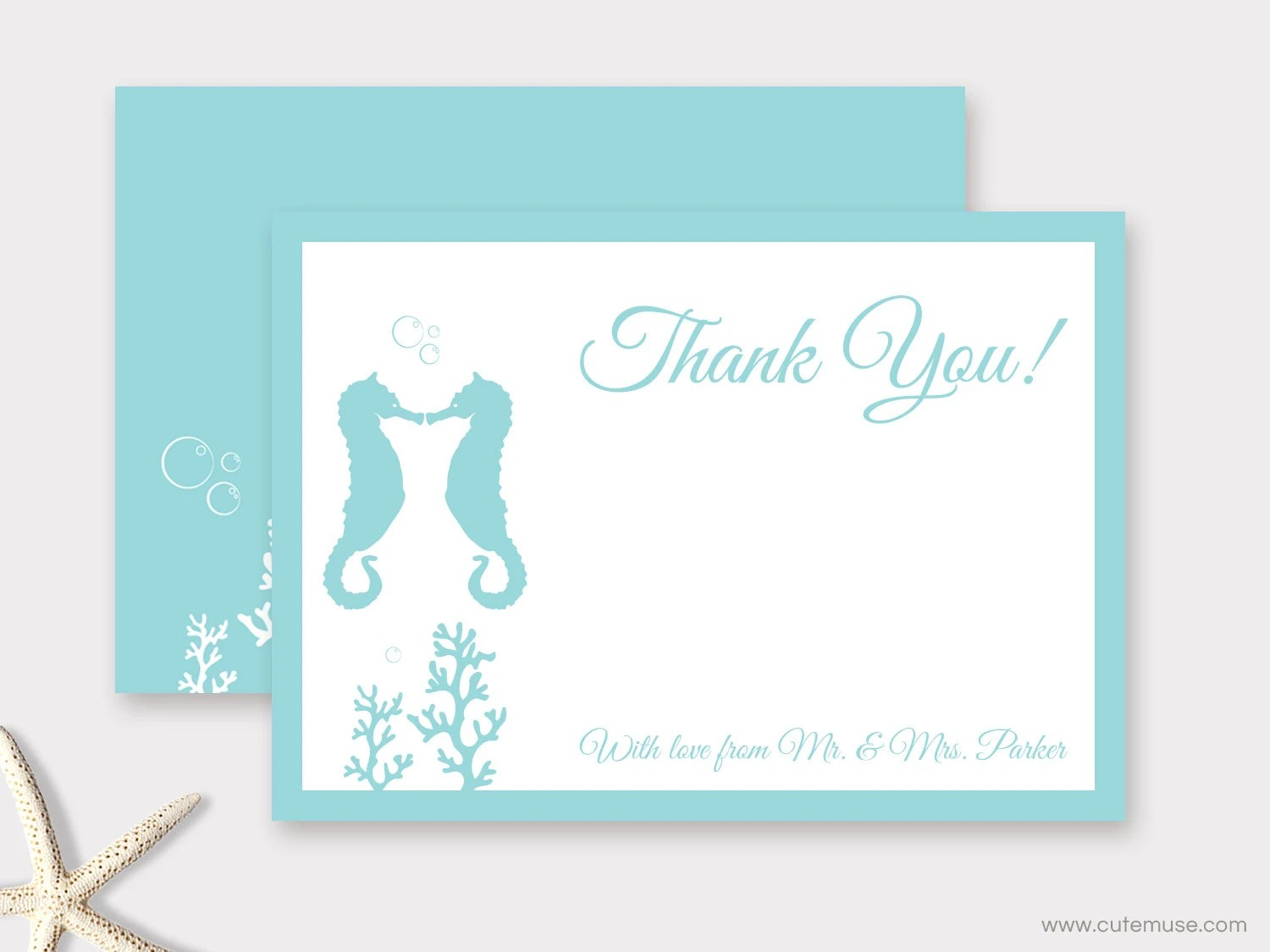 Beach Thank You Card with seahorse - Personalized PRINTABLE
