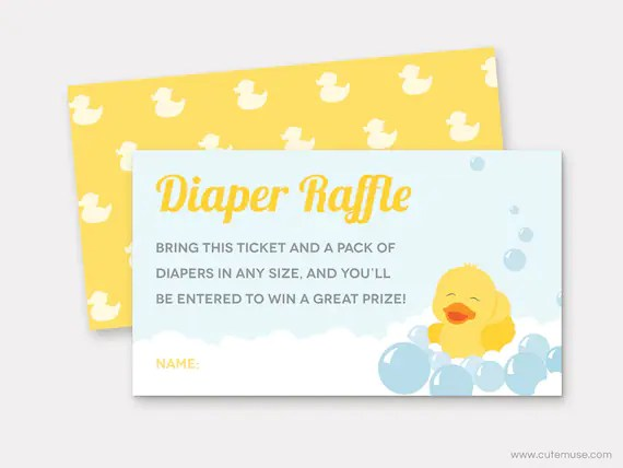 Rubber Duck Diaper Raffle Ticket Printable, Ducky Baby Shower Game