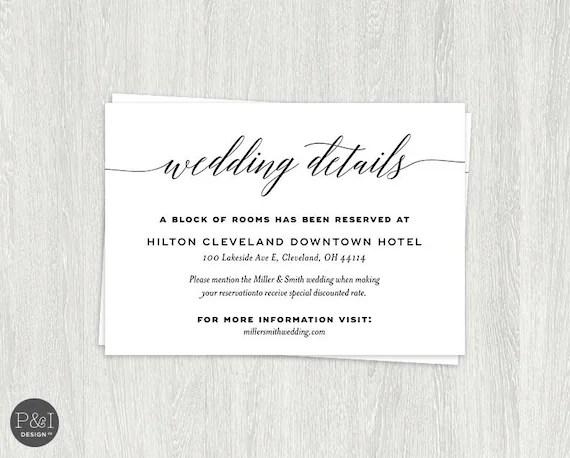 Details Accommodations Wedding Reception Card Insert Etsy