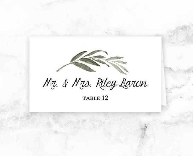 Wedding Printable Place Cards - Seating Cards - Watercolor Branch