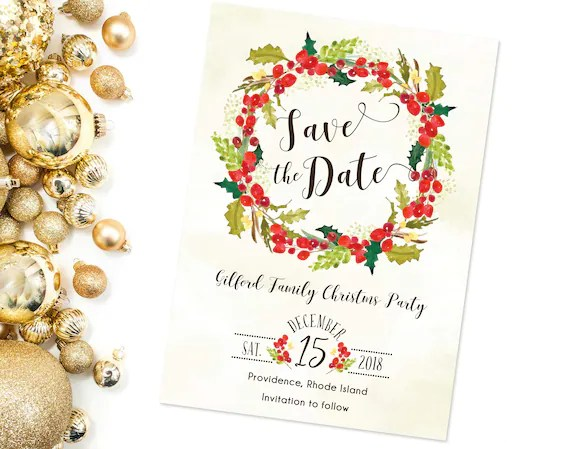 Christmas Party Save the Date Printed or Digital Holiday Etsy