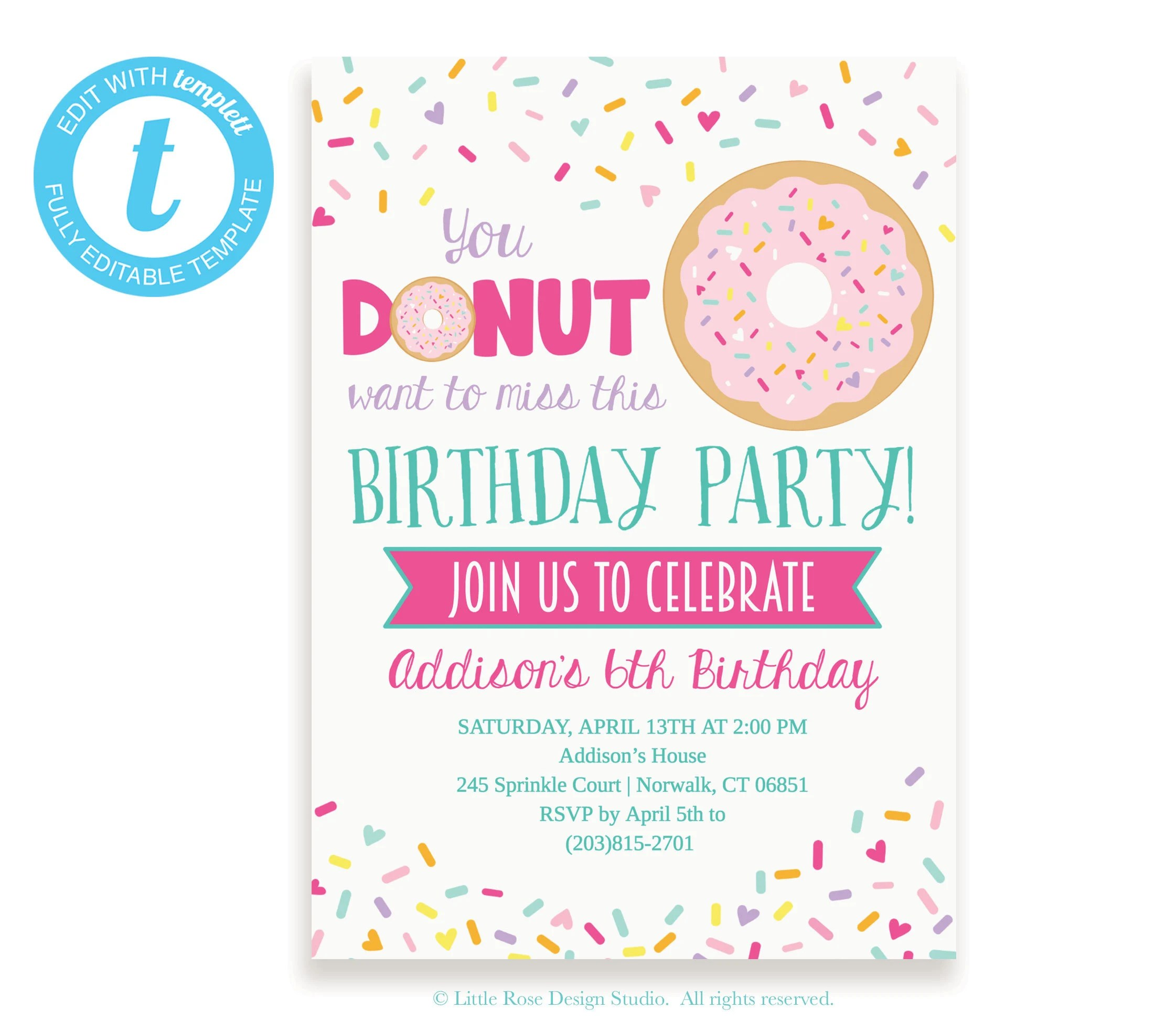 Donut Party Invitation Editable Template / Birthday Party Etsy