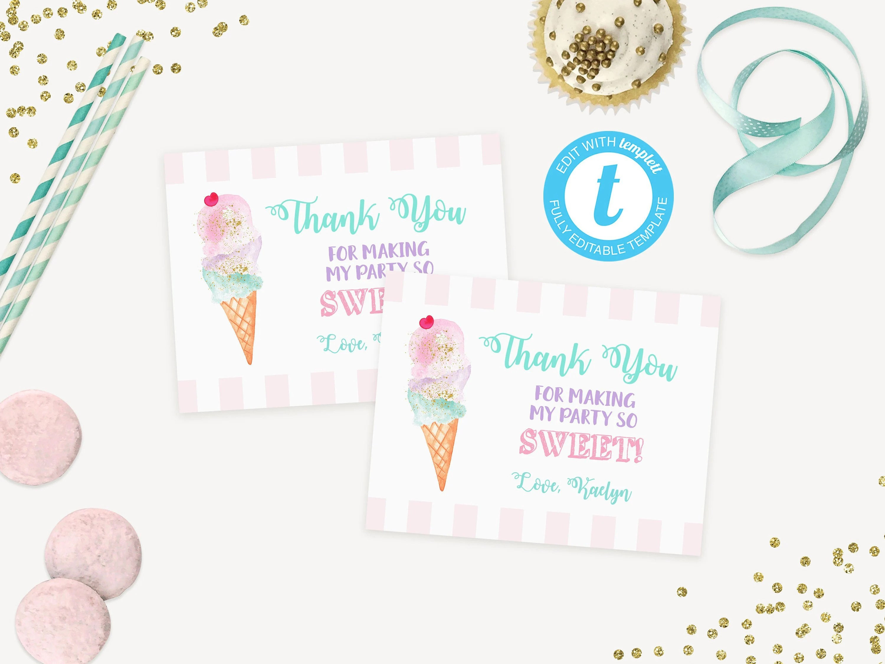 Ice Cream Party Thank You Card Printable / Thank You Notes / Etsy