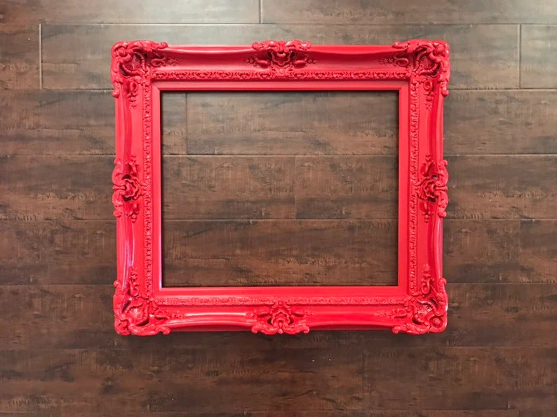 20x24 Christmas Red Frame Baroque Mirror Chic Frame for Etsy