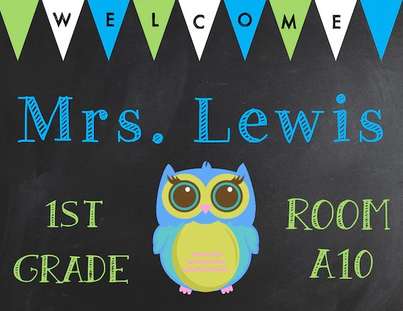 Owl Classroom Door Sign Name Sign Personalized Classroom Etsy