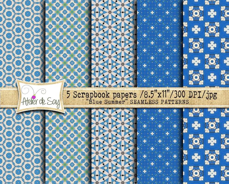 Cobalt blue digital paper/blue scrapbook paper/seamless Etsy