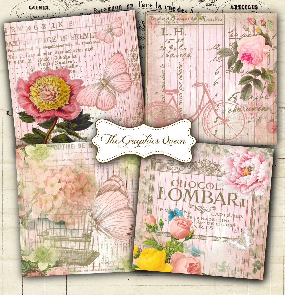Shabby Chic Cuxhaven Shabby Chic French Sweet Cottage Digital Collage Sheets 3 8 X 3 8 Inches Square Images For Coasters Digital Cards Tags Atc