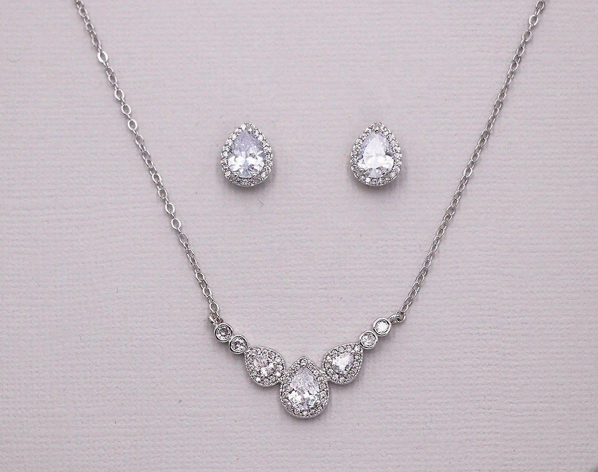 Where To Get Bridal Jewelry Silver Pear Jewelry Set Wedding Necklace Set Bridal Jewelry