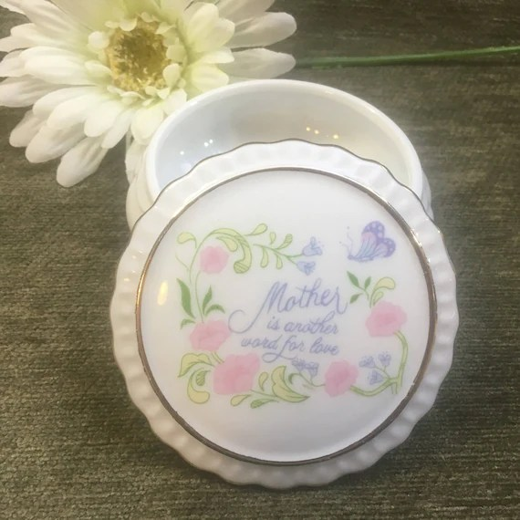 Floral Porcelain Trinket Box Mother is Another Word for Love Etsy