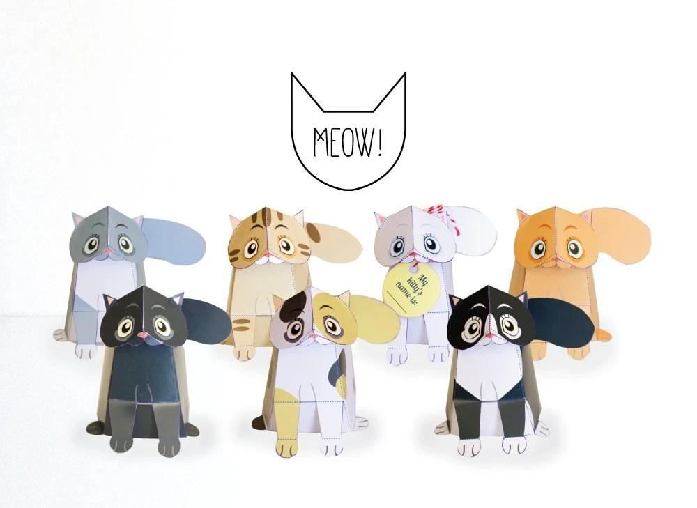 Printable Cat Paper craft / Cat Sculpture/ low poly / Etsy