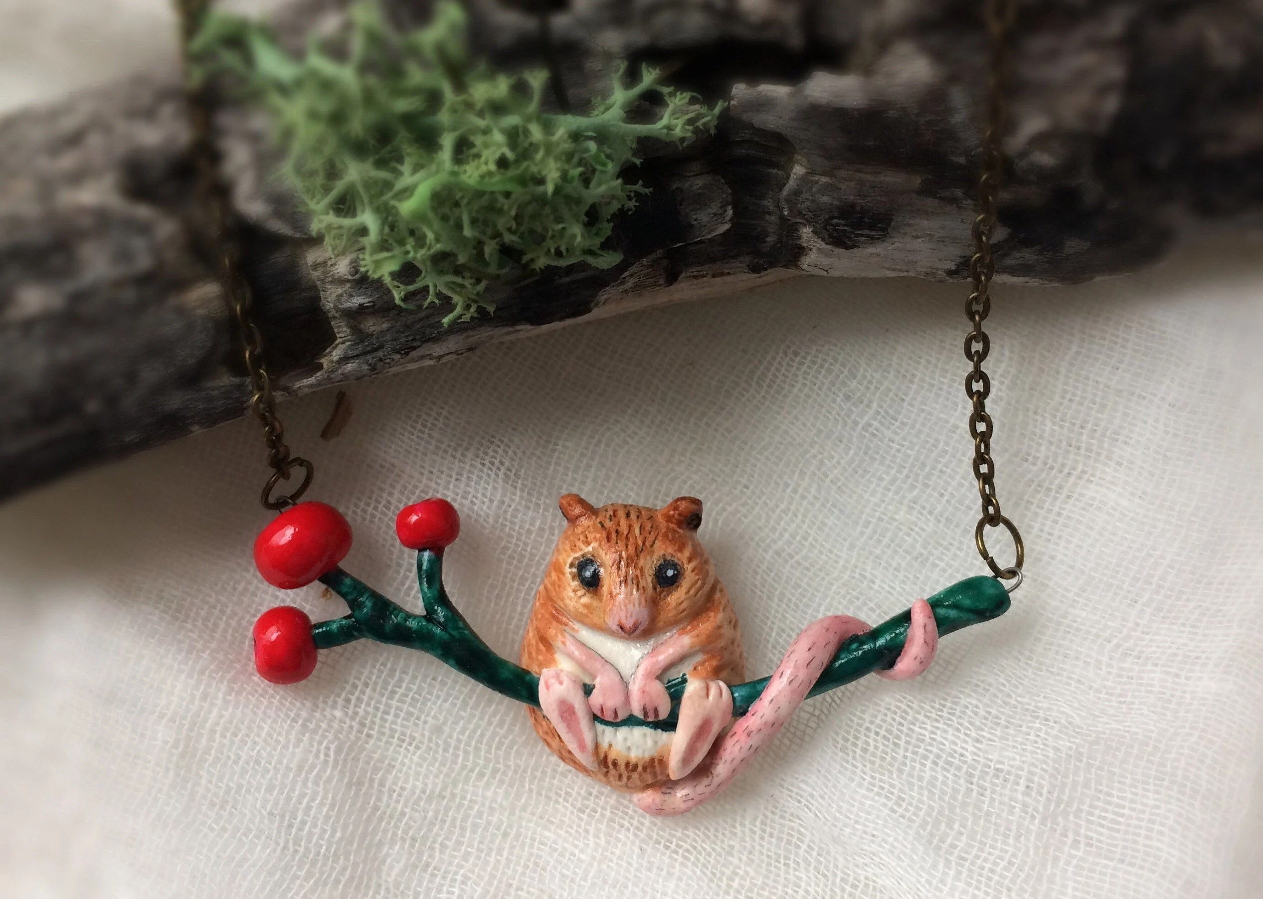Field mouse polymer clay necklace Woodland animal miniature Etsy
