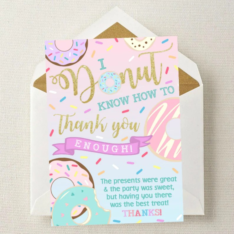 Donut Thank You Card   Donut Birthday Thank You   Thank You Etsy