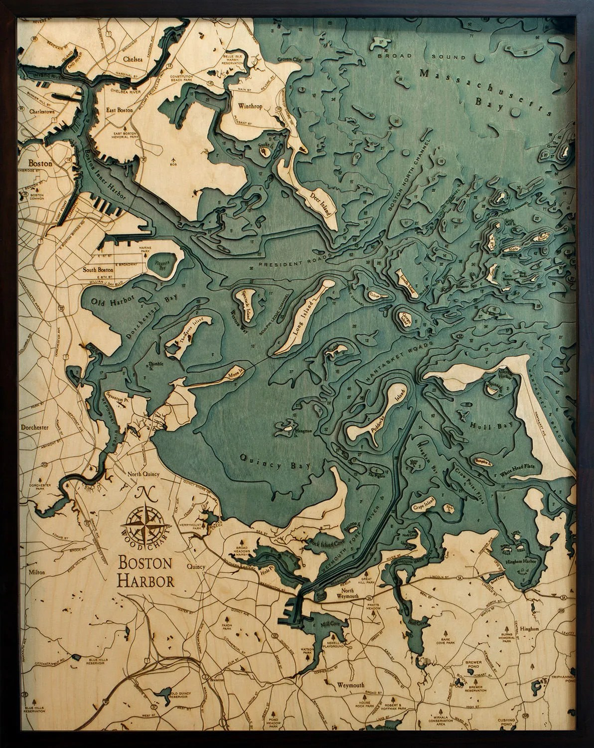 Boston Harbor Wood Carved Topographic Depth Chart / Map Etsy