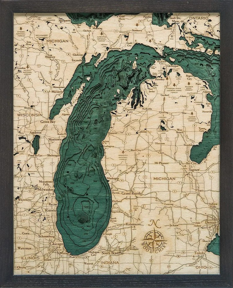 Lake Michigan Wood Carved Topographic Depth Chart / Map Etsy