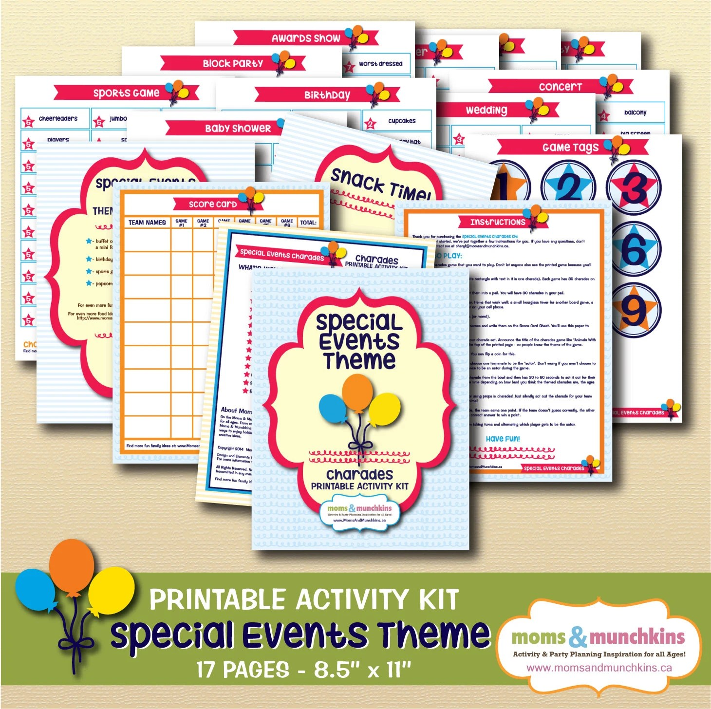Printable Charades Special Events Theme Etsy
