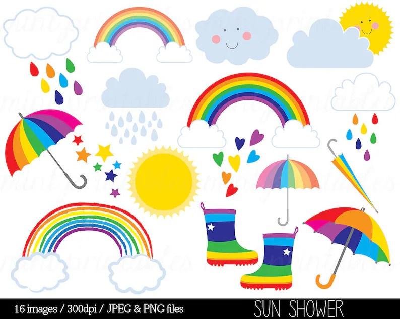 Rainbow Clipart Clip Art Rain Cloud Raindrops Sun Sky Stars Etsy