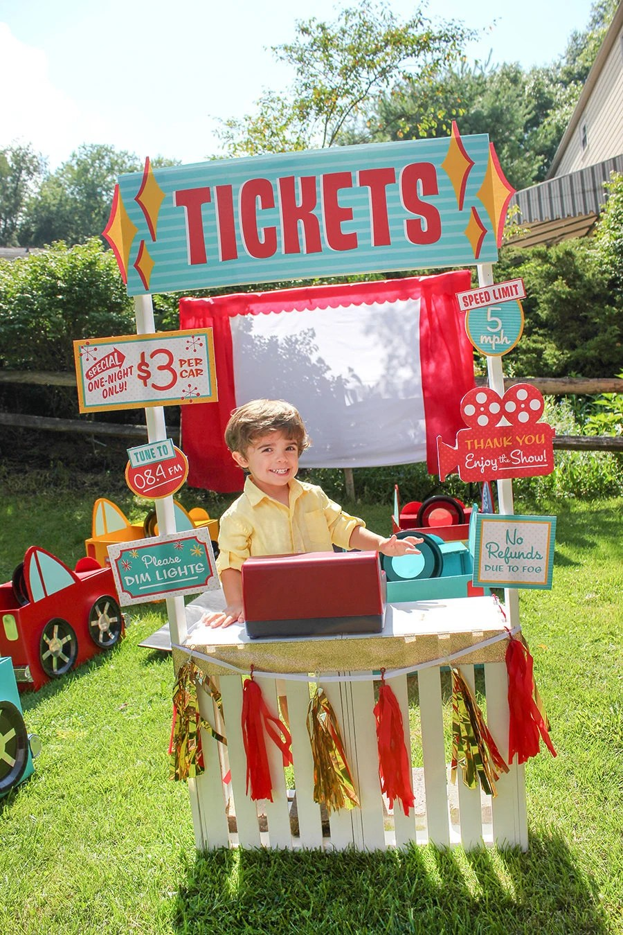 Retro Drive-In Movie Birthday Party Ticket Booth Printable Signs
