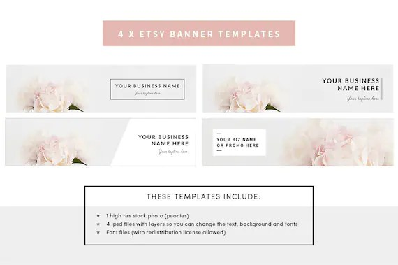 Etsy shop banner template with floral stock photo included and - Etsy Banner Template