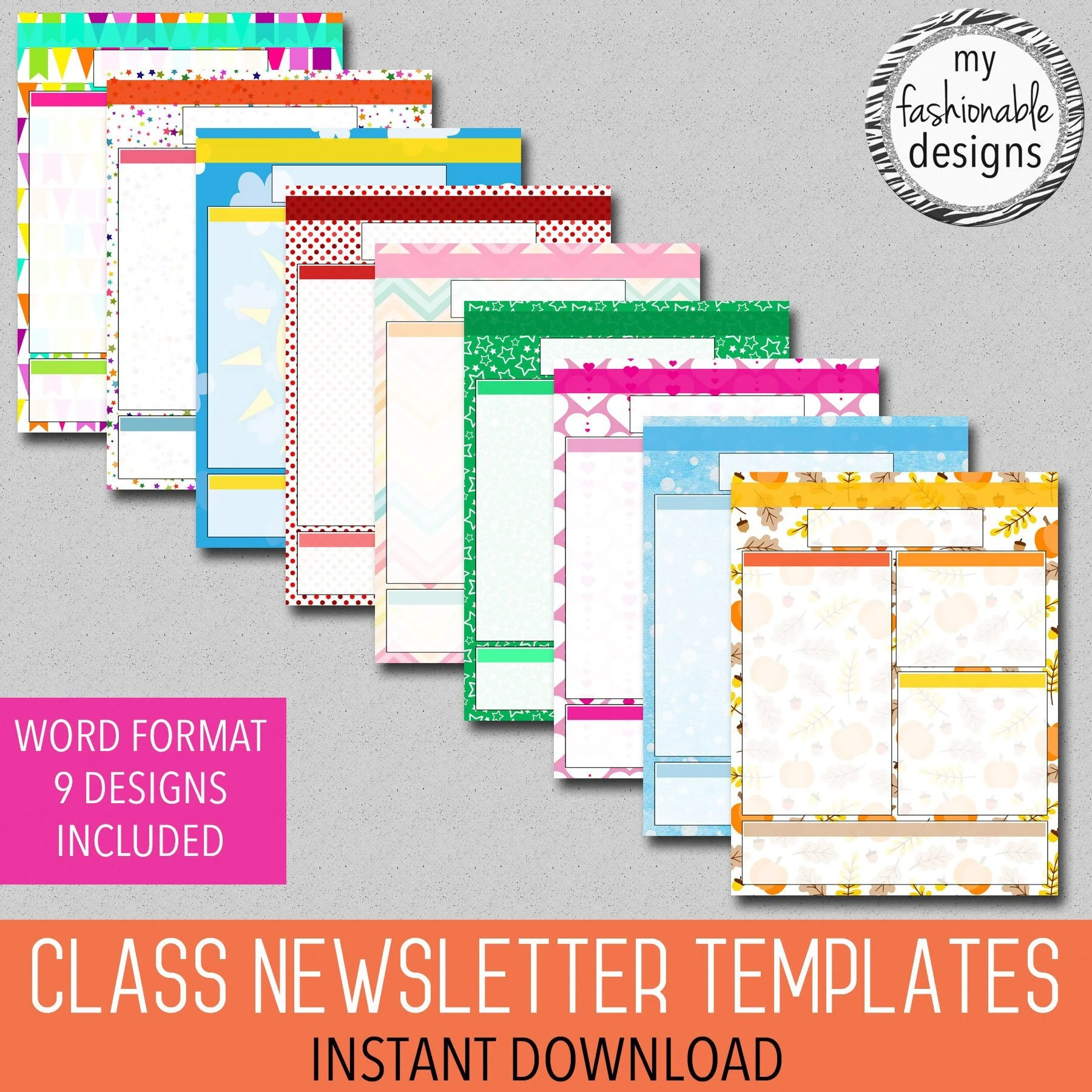 Classroom Newsletter Templates 9 Designs Included Teacher Etsy