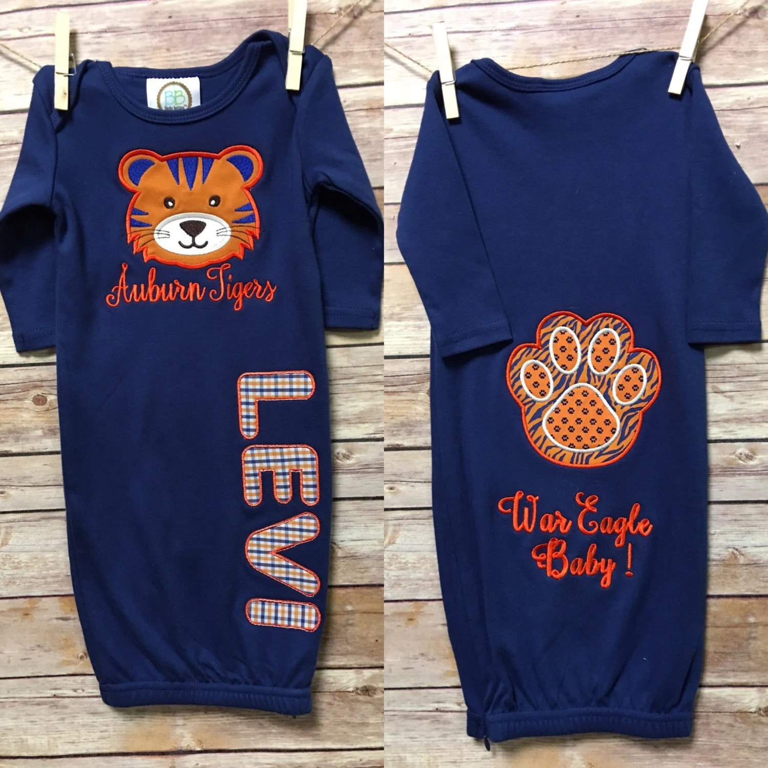 Baby Shop Auburn Auburn Baby Boy Going Home Gown Personalized Name Gown Baby Boy Newborn Hospital Infant Gown Infant Newborn Baby Shower