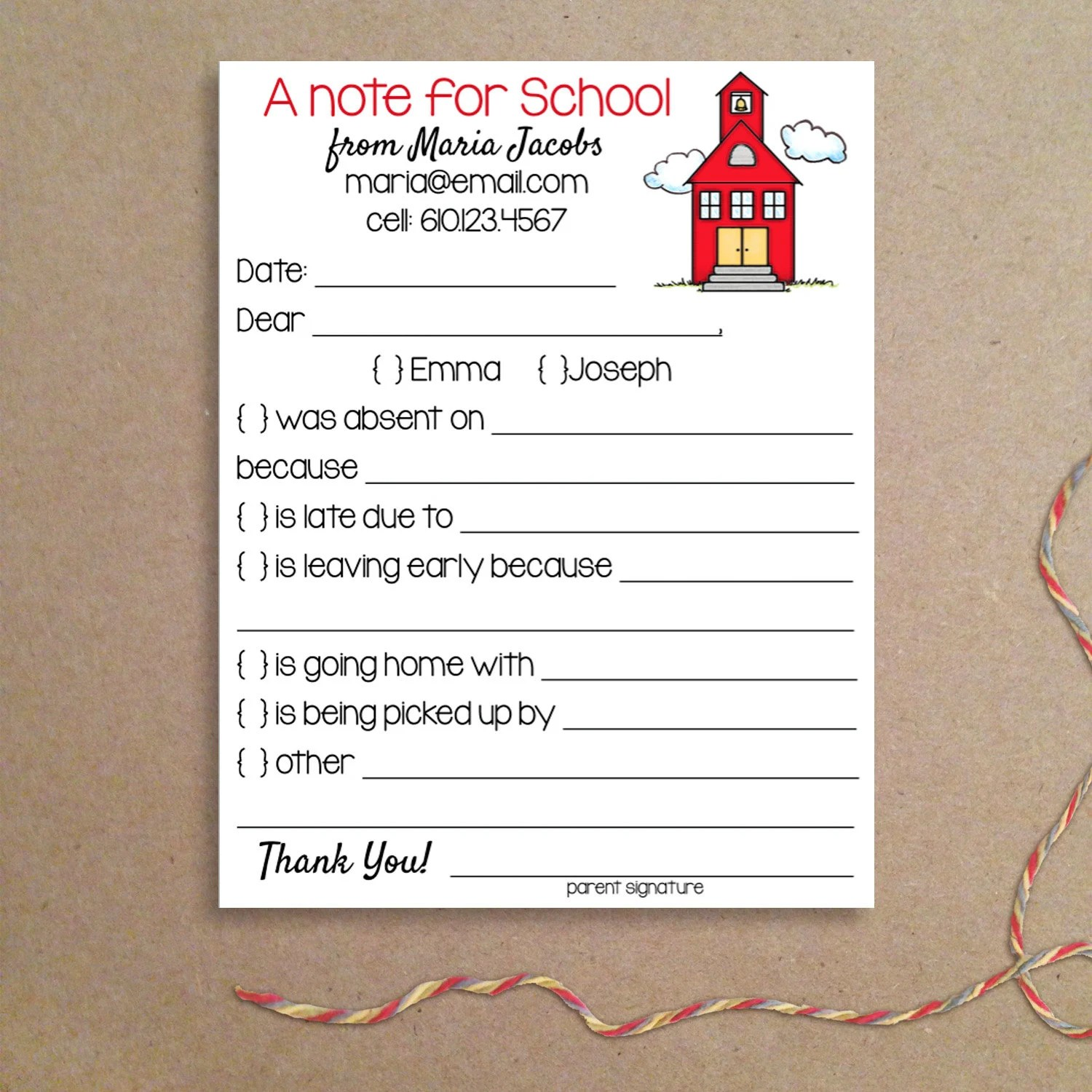 Fill-in School Notes Schoolhouse Absence Notes School Etsy