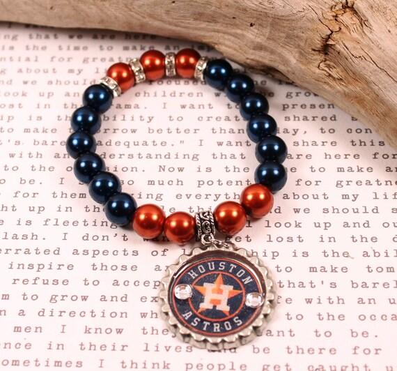 Houston Astros Inspired glass pearl beaded bracelet baseball Etsy