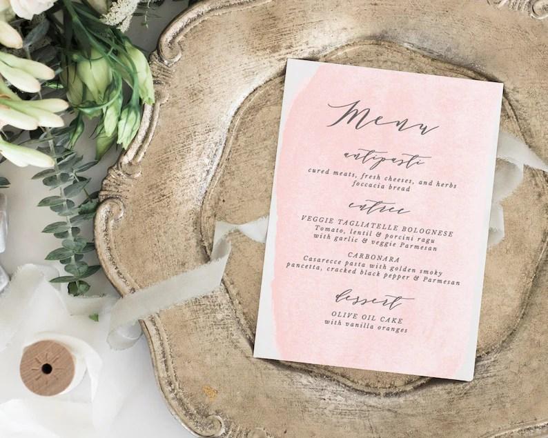 Blush Printable Wedding Menu Template Rustic Wedding Menu Etsy
